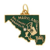 Vintage Enameled Map of Maryland 14k Gold Charm