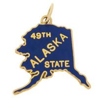 """Vintage Enameled Map of Alaska """"49th State"""" 14k Gold Charm"""