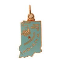Vintage Enameled Map of Indiana 14k Gold Charm