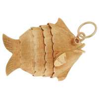 Vintage Movable Puffer Fish 18k Gold Charm