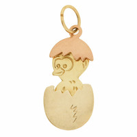 Vintage Movable Chick in Egg 14k Gold Charm