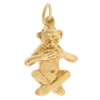 Speak No Evil Monkey 14K Gold Charm