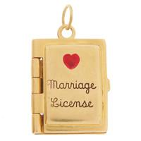 Vintage Marriage License 14k Gold Charm