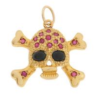 Vintage Ruby Skull And Crossbones 18k Gold Charm