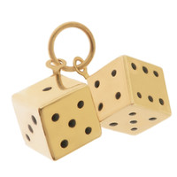 14k Gold Enameled Dice Charm