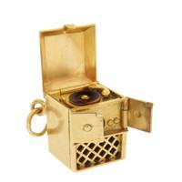 Vintage Enameled Record Player 14k Gold Charm