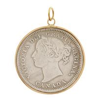 Vintage Love Coin Engravable 14k Gold Charm