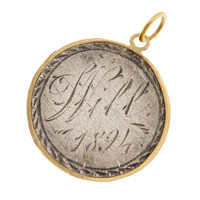 """Vintage Love Coin """"Will"""" 14k Gold Charm"""