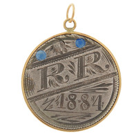 "Vintage Love Coin ""RR"" 14k Gold Charm"
