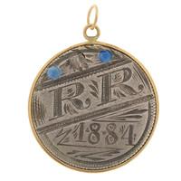 "Vintage Love Coin ""RR"" 14k Gold Charm"