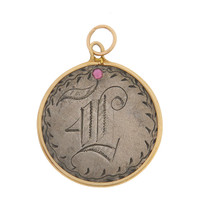 """Vintage Love Coin """"F"""" 14k Gold Charm"""