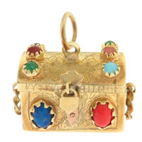 Vintage Gem Treasure Chest 18K Gold Charm