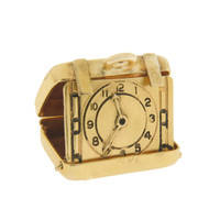 Vintage Movable Travel Clock 14k Gold Charm