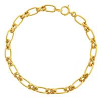 Vintage Twisted Structured Link 14k Gold Charm Bracelet