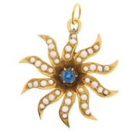 Vintage Victorian Organic Pearl Starburst  With Sapphire 14k Gold Charm