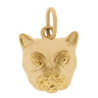 Bulldog Face 14k Gold Charm