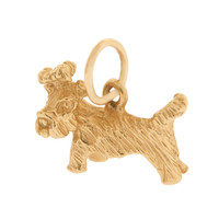 Vintage Dog- Little Bow-head Puppy 14k Gold Charm