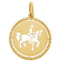 Vintage Horseback Rider 18k Gold Charm