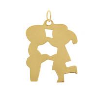 Vintage Kissing Kids 14k Gold Charm