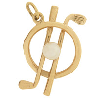 Vintage Golf Clubs with Pearl 14k Gold Charm
