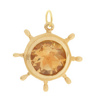 Vintage Ship's Wheel with Citrine 14k Gold Charm