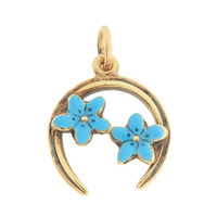 Vintage Horseshoe with Blue Flowers 14k Gold Charm