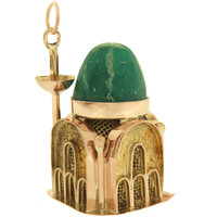 Vintage Large Agate Topped Mosque 9k Gold Charm