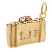 Suitcase 14K Gold Engravable Charm