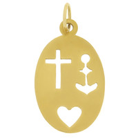 Vintage Faith, Hope & Love 18k Gold Charm