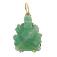 Vintage Jade Ganesha 14k Gold Charm