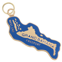 Vintage Enameled Map of Grand Bahama 14k Gold Charm
