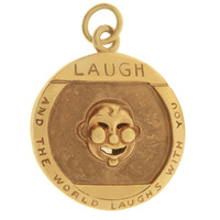 Vintage Laugh and Cry Proverb 14K Gold Charm