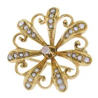 Vintage Victorian Floral Starburst 14k Gold Charm