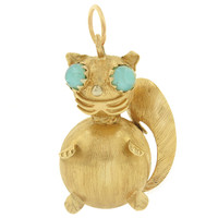 Vintage Squirrel with Moonstone Eyes 18k Gold Charm