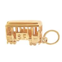 San Francisco S.F. Cable Car 14k Gold Charm