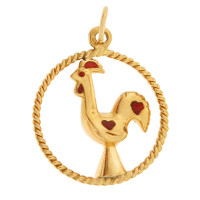 Vintage Red Love Rooster 18k Gold Charm