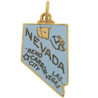 Vintage Enameled Map of Nevada 14k Gold Charm