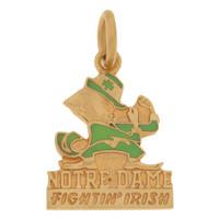Vintage Notre Dame Leprechaun 10k Gold Charm