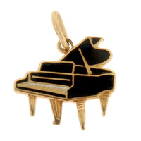 Vintage Enameled Piano 14k Gold Charm
