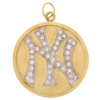 Vintage New York Yankees Diamond Disc 14k Gold Charm