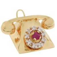 Vintage Telephone with Ruby & Diamond Dial 14k Gold Charm