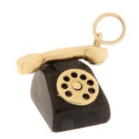 Vintage Black Lucite Telephone 14K Gold Charm