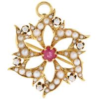 Vintage Victorian Ruby, Diamond and Pearl 14K Starburst