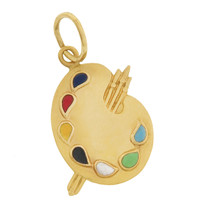 Vintage Palette with Enamel Paints 14k Gold Charm