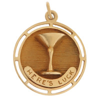 "Vintage ""Here's Luck"" Toast 14K Gold Charm"