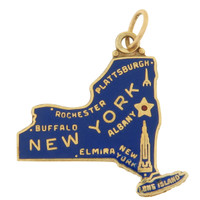 Vintage Enameled New York State 14k Gold Charm