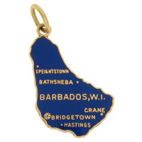 Vintage Enameled Map of Barbados 10k Gold Charm