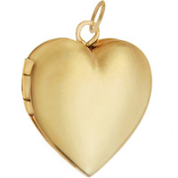 Large Engravable Heart Locket 14K Gold Charm