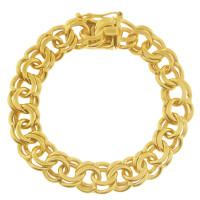 Vintage Estate Double Link 14k Gold Charm Bracelet