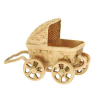 Vintage Baby Carriage 14k Gold Charm